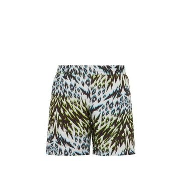 Aries - Animal Print Jersey Shorts - Mens - Blue Multi