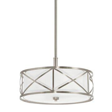Kichler Edenbrook Brushed Nickel Modern/Contemporary Etched Glass Drum Medium (10-22-in) Pendant Light | 34720