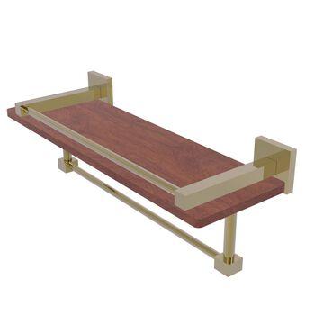 MT-1-16TB-GAL-IRW-UNL Montero Collection 16 in. IPE Ironwood Shelf with Gallery Rail & Towel Bar, Unlacquered Brass