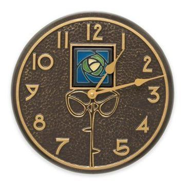 Whitehall Products Blue Dard Hunter Rose Indoor/Outdoor Wall Clock in French Bronze