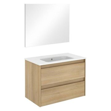 Ambra 80 Complete Vanity Unit, Nordic Oak, With Mirror