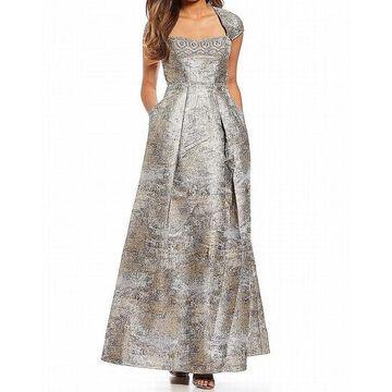 Aidan Mattox Womens Dress Silver Size 4 Gown Embellished Jacquard