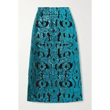 Dries Van Noten - Sequined Velvet Midi Skirt - Turquoise