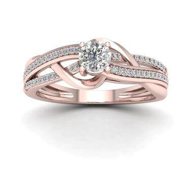 De Couer 1/4ct TDW Diamond Split Shank Ring - Pink (6 - Rose)