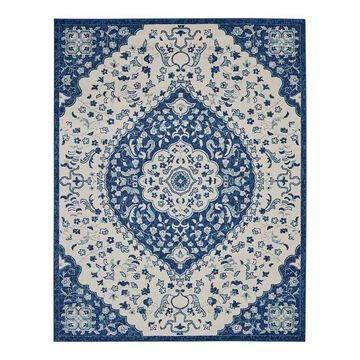 Nourison Passion Worldly Ivory Blue Area Rug, Multicolor, 2X7.5 Ft