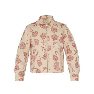 Aries - Rose Print Cotton Harrington Jacket - Mens - Red White