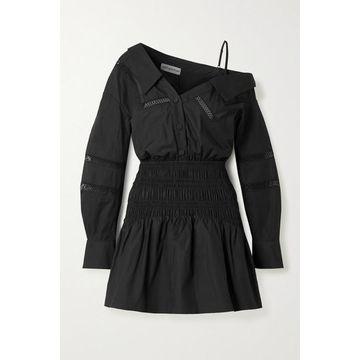 Self-Portrait - One-shoulder Crochet-trimmed Shirred Cotton-poplin Mini Dress - Black