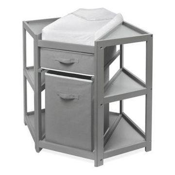Badger Basket Corner Changng Table with Hamper in Grey