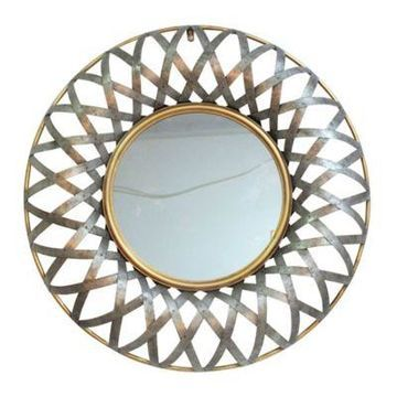 A&B Home Ives 29.5-Inch Round Wall Mirror in Antique Silver/Gold