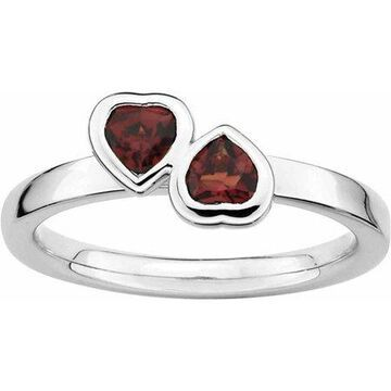 Sterling Silver Garnet Double Heart Ring