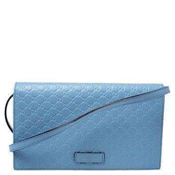 Gucci Powder Blue Microguccissima Leather Flap Crossbody Bag