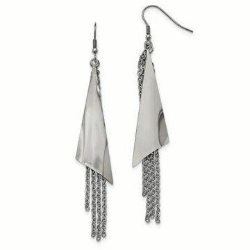 Primal Steel Stainless Steel Polished Shepherd Hook Dangle Earrings
