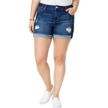 Celebrity Pink Womens Plus Runaway Medium Frayed Denim Shorts