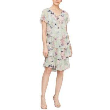 Sl Fashions Tiered Ruffled Shift Dress
