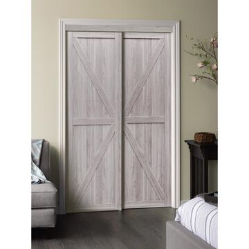 ReliaBilt Reliabilt Silver Flush MDF Sliding Closet Door Hardware Included (Common: 72-in x 80-in; Actual: 72-in x 80-in)