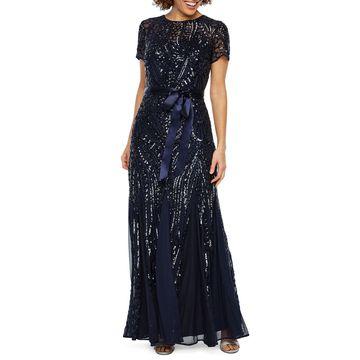 R & M Richards Short Sleeve Sequin Evening Gown
