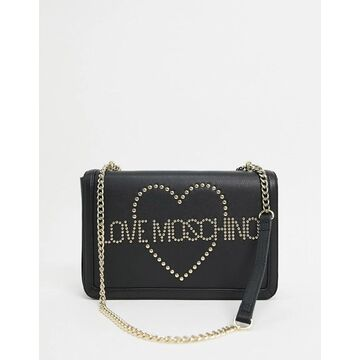 Love Moschino heart studded shoulder bag with chain strap in black