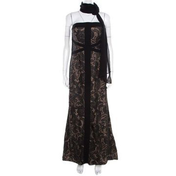 ML by Monique Lhuillier Black and Beige Floral Embroidered Tulle Strapless Gown L