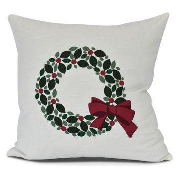 Holly Wreath, Floral Print Outdoor Pillow, White, 16