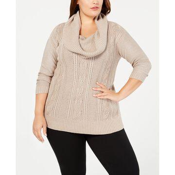 Plus Size Lurex& Cowl-Neck Sweater