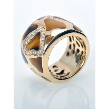 Roberto Coin Giraffe Yellow Gold Diamonds and Tiger Eye Wide Band Ring
