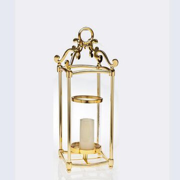 93808 Hurricane Centerpiece Candle Holder, Gold