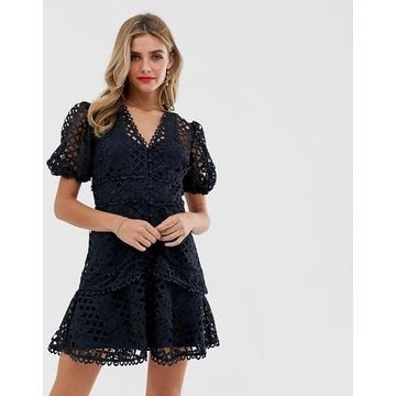 Keepsake Lovable Lace Dress-Navy