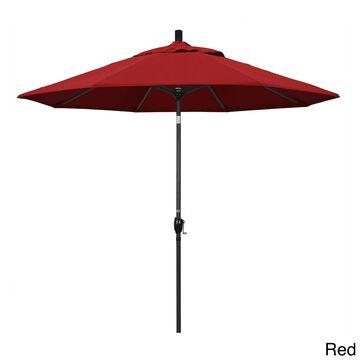 California Umbrella 9' Rd. Aluminum Market Umbrella, Crank Lift with Push Button Tilt, Black Finish, Pacifica Fabric