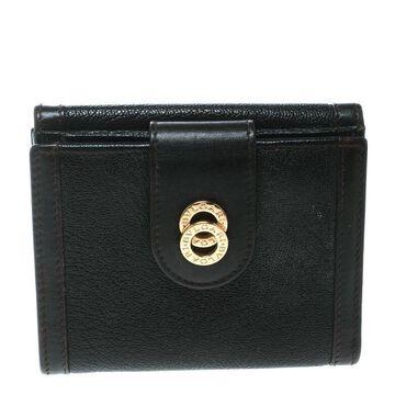 Bvlgari Dark Brown Leather Compact Flap Wallet
