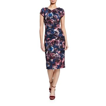 Floral-Print Cap-Sleeve Ruched Sheath Dress