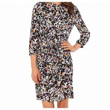 NYDJ Orange Womens Medium Abstract Print Shirt Dress