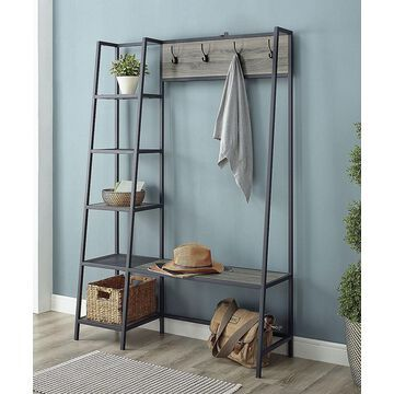 Walker Edison Hooks Slate - Slate Gray Storage Shelf with Bench