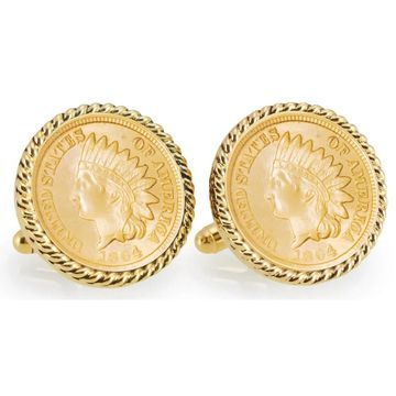 American Coin Treasures Gold-Plated Civil War Indian Head Penny Goldtone Rope Bezel Cuff Links