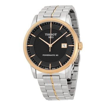 Tissot Men's T0864072205100 'T-Classic Powermatic 80' Automatic Two-Tone Stainless Steel Watch - black