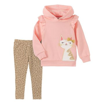 Kids Headquarters Girls' Casual Pants ASSORTED - Pink Cat Ruffle Hooded Pullover & Brown Leopard Pants - Toddler