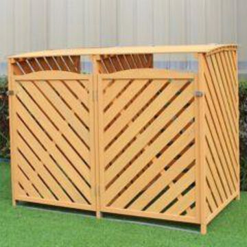 Hanover Wooden Trash and Recyclables Bin Storage Shed with Dual Front Doors and Hinged Top Lids, HANWS0103-NAT