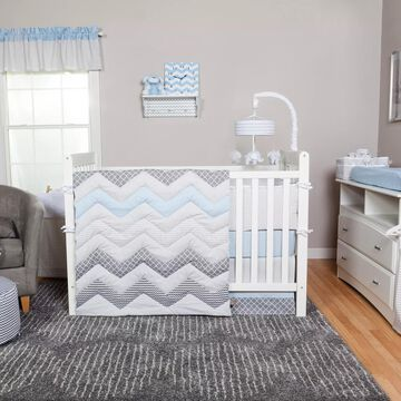 Trend Lab& Blue Taffy Chevron 3-Piece Crib Bedding Set