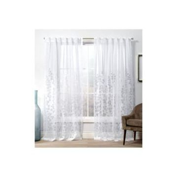 """Exclusive Home Curtains Wilshire Burnout Sheer Hidden Tab Top Curtain Panel Pair, 54"""" x 84"""""""