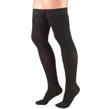 Truform Stockings, Thigh High, Closed Toe, Dot Top: 30-40 mmHg, Black, Medium