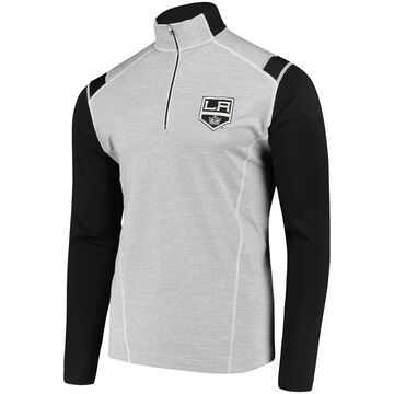 Men's Antigua Heathered Gray/Black Los Angeles Kings Automatic Quarter-Zip Pullover Jacket