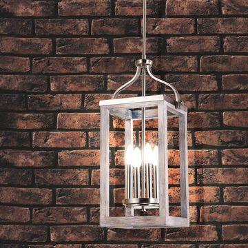 Eglo Montrose 5-Lght Pendant w/ Acacia Wood and Brushed Nickel Finish (As Is Item)