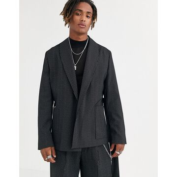 Heart & Dagger jacket in pinstripe black
