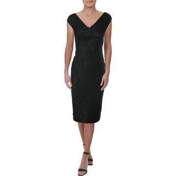 Lela Rose Womens Fitted Midi Sheath Dress