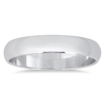 Marquee Jewels 10K White Gold Domed Comfort Fit Wedding Band