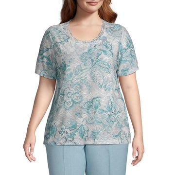 Versailles Alfred Dunner Scroll Floral Top - Plus