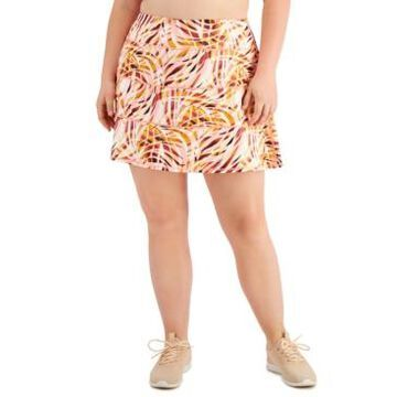 Ideology Plus Size Printed Tiered Skort, Created for Macy's
