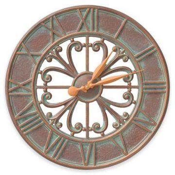 Whitehall Products Villanova 21-Inch Indoor/Outdoor Clock in Copper Verdigris