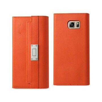 Samsung Galaxy Note 5 Genuine Leather Rfid Wallet Case And Metal Buckle Belt In Tangerine