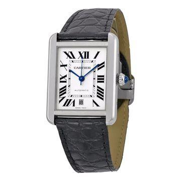 Cartier Men's W5200027 'Tank Solo' Automatic Black Leather Watch