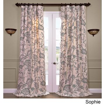 Exclusive Fabrics Sophie Embroidered Cotton Crewel Curtain